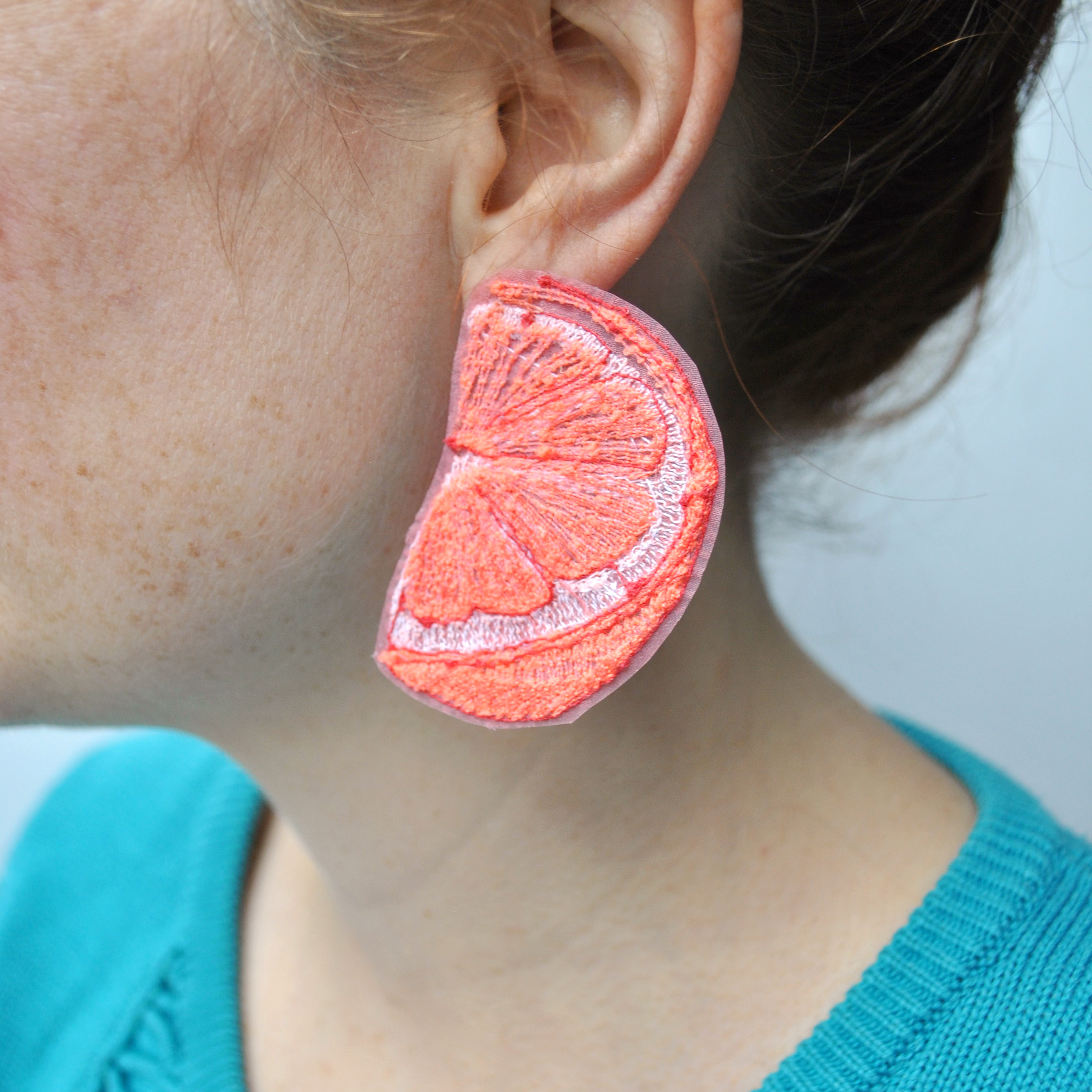 Large Grapefruit Earrings