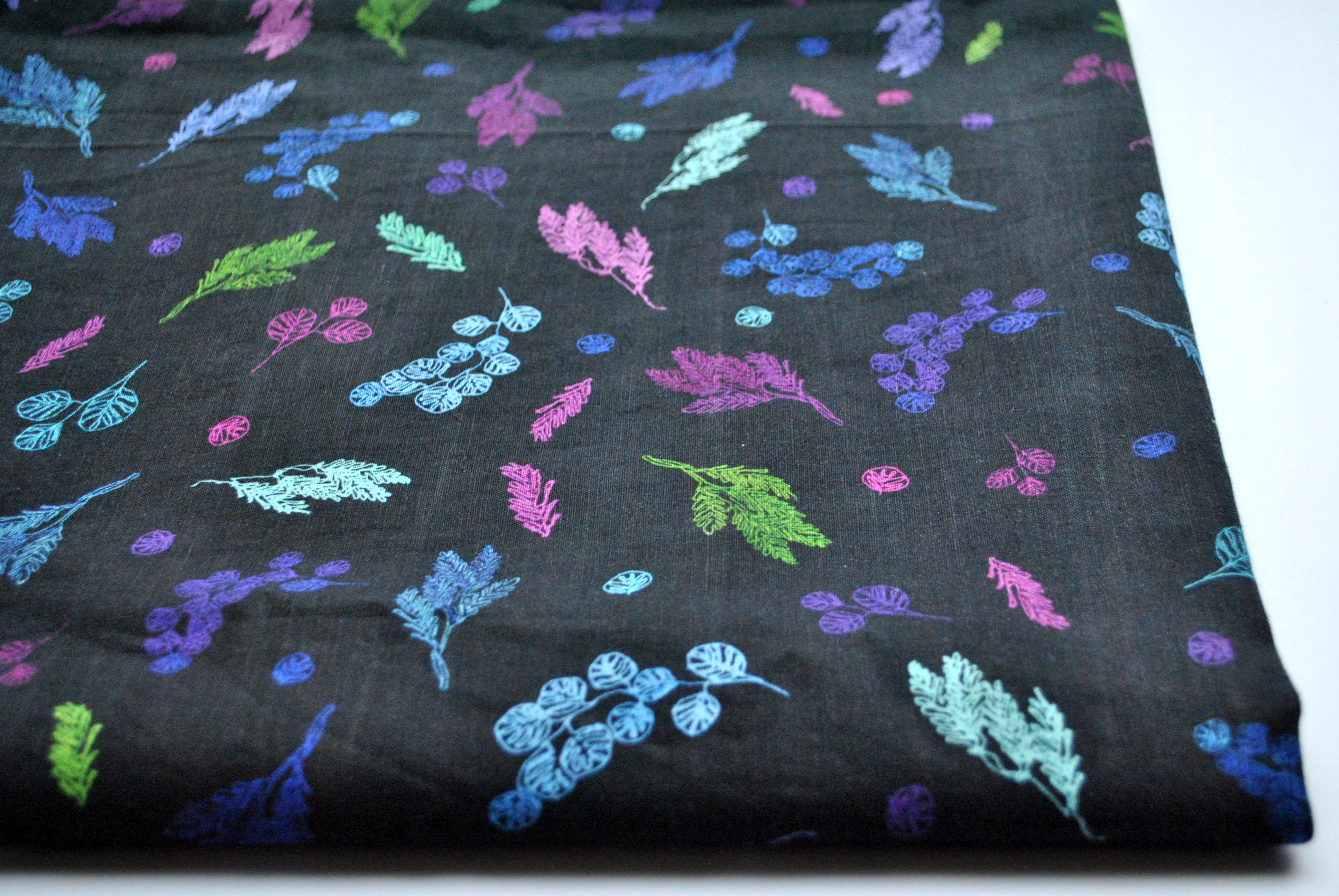Small Bright Branches: Linen Cotton Fabric