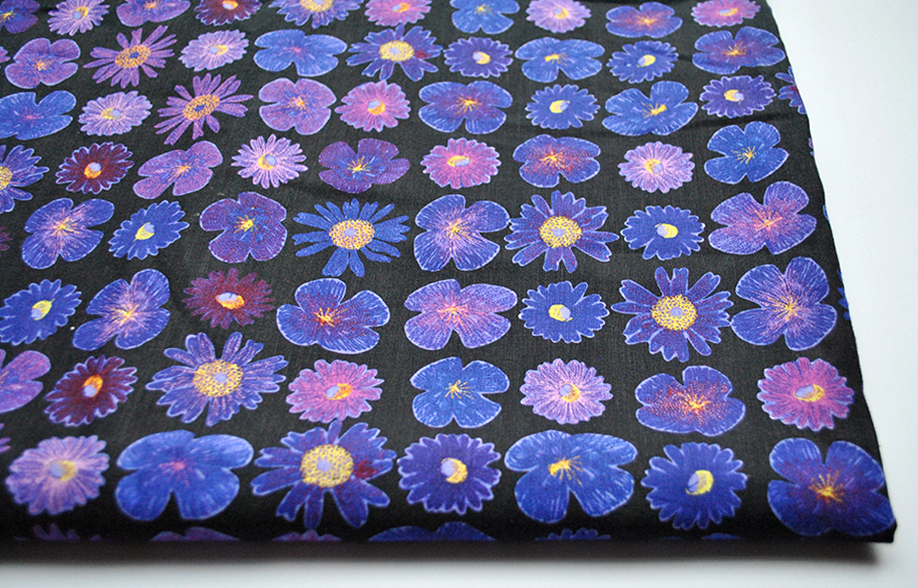 Purple Flowers: Linen Cotton Fabric