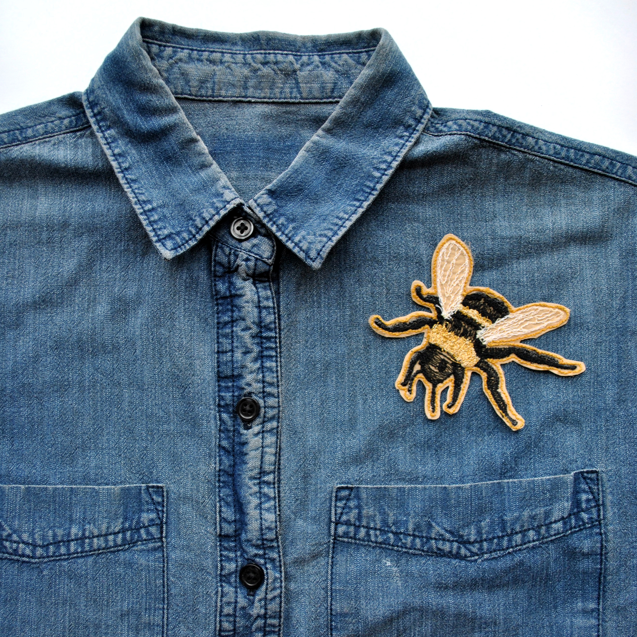Iron-On Embroidered Bee Patch